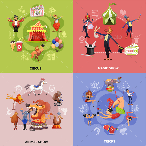 Circus Cartoon Concept - Animals Characters