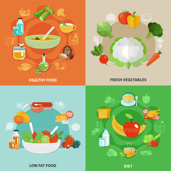 Healthy Eating Concept - Food Objects