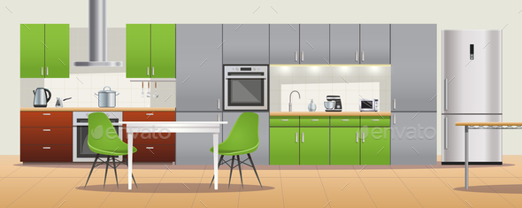 Modern Kitchen Interior Design Poster - Miscellaneous Vectors