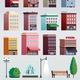 City Street Elements Buildings Set