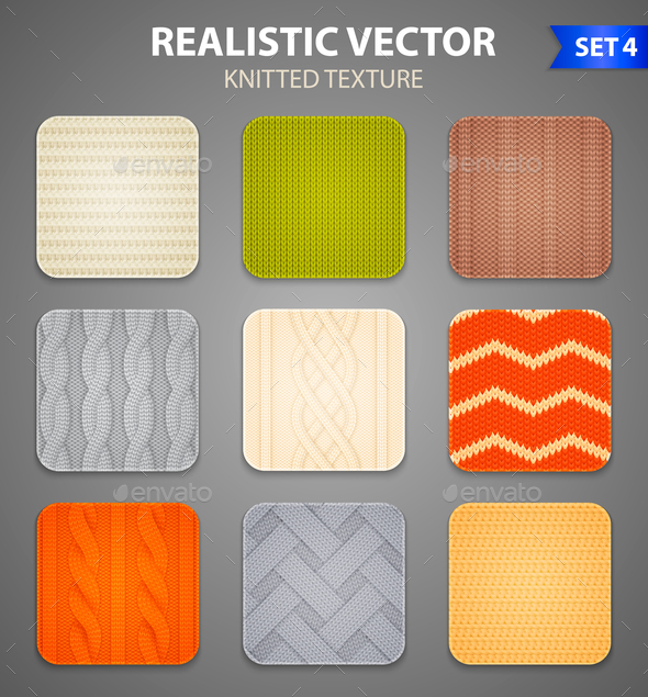 Realistic Knitted Patterns Samples Set - Backgrounds Decorative