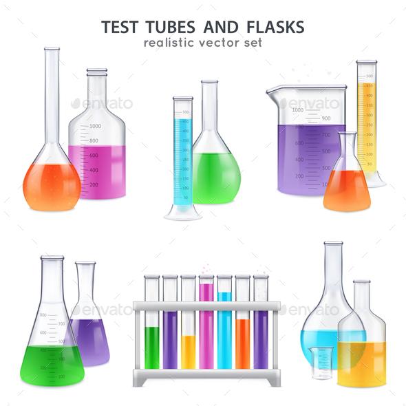 Realistic Test-Tubes Retorts Set - Health/Medicine Conceptual