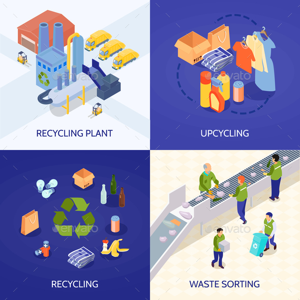 Garbage Recycling Isometric Design Concept - Miscellaneous Conceptual