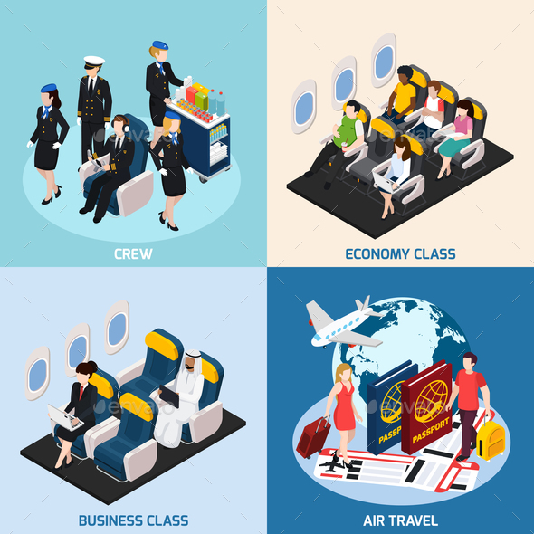 Airplane Passengers Concept Icons Set - Travel Conceptual