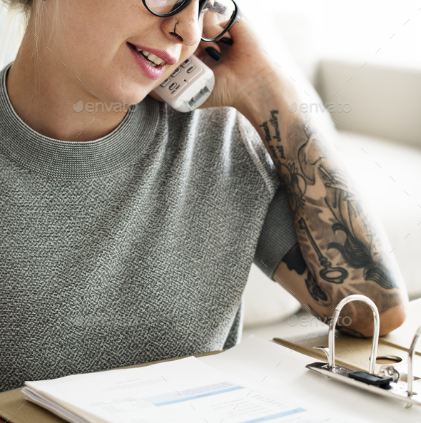 Caucasian woman on the phone - Stock Photo - Images
