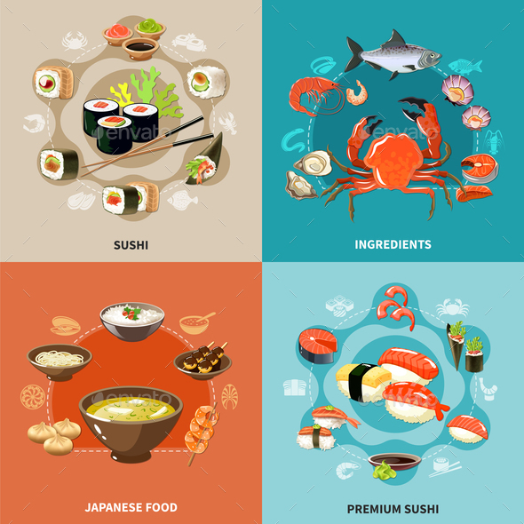 Sushi Concept Set - Food Objects