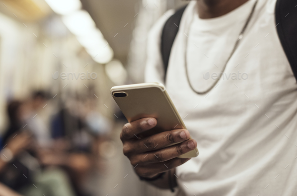 African man using mobile phone - Stock Photo - Images