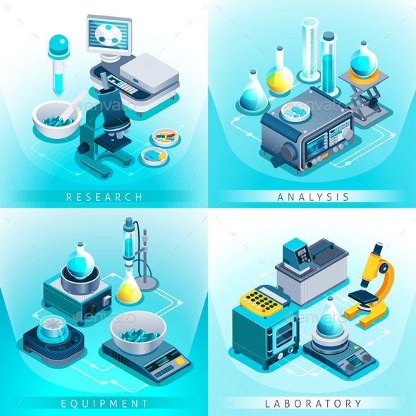 Laboratory Equipment Isometric Design Concept - Miscellaneous Vectors
