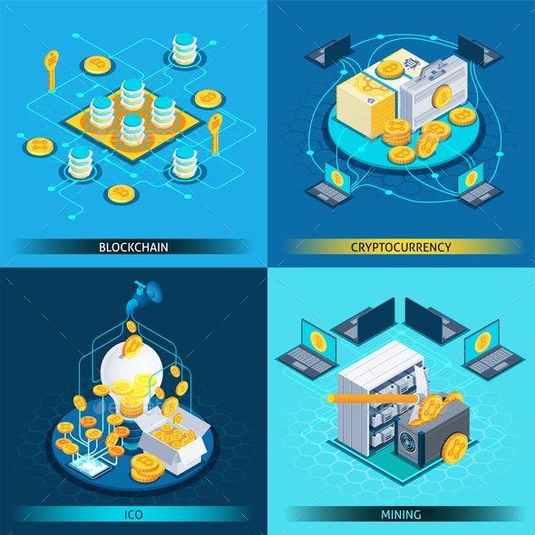 Blockchain Cryptocurrency Isometric Design Concept - Concepts Business