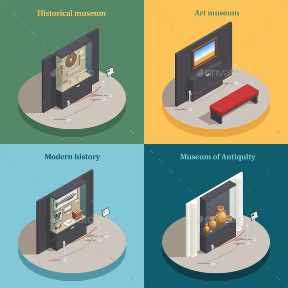 Museum Showcase 4 Isometric Icons - Miscellaneous Vectors