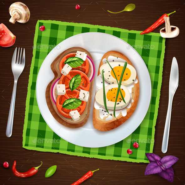Sandwiches on Plate Rustic Illustration - Food Objects