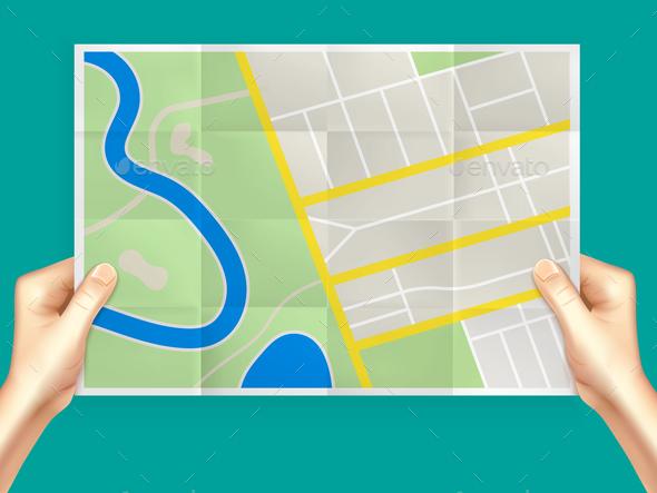 Folding City Map Composition - Miscellaneous Vectors