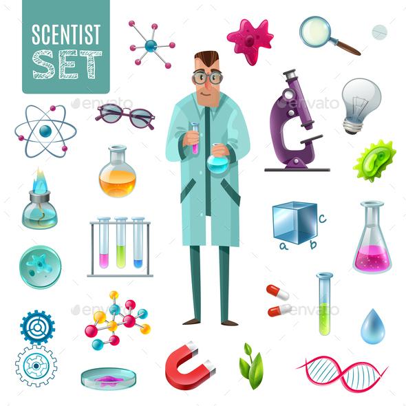 Science Icons Cartoon Set - Miscellaneous Vectors
