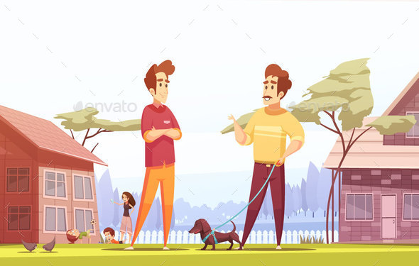 Two Male Neighbors at Village Background - People Characters
