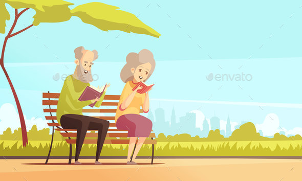 Old People Reading in Park - Sports/Activity Conceptual