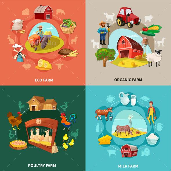 Farm Cartoon Concept Set - Food Objects