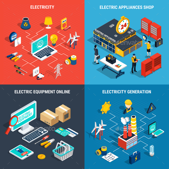 Electricity Isometric Concept - Industries Business