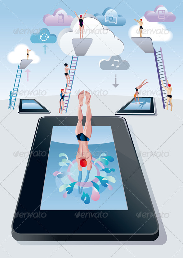 Springboard Dive Man Digital Tablet - Technology Conceptual