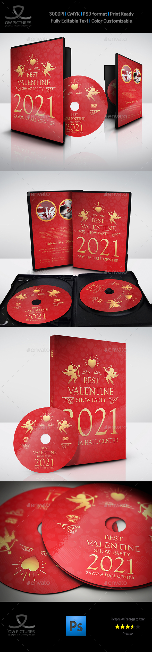 Valentine Day Party DVD Cover and Label Template - CD & DVD Artwork Print Templates