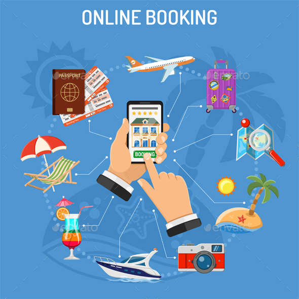 Online Booking Hotel - Travel Conceptual