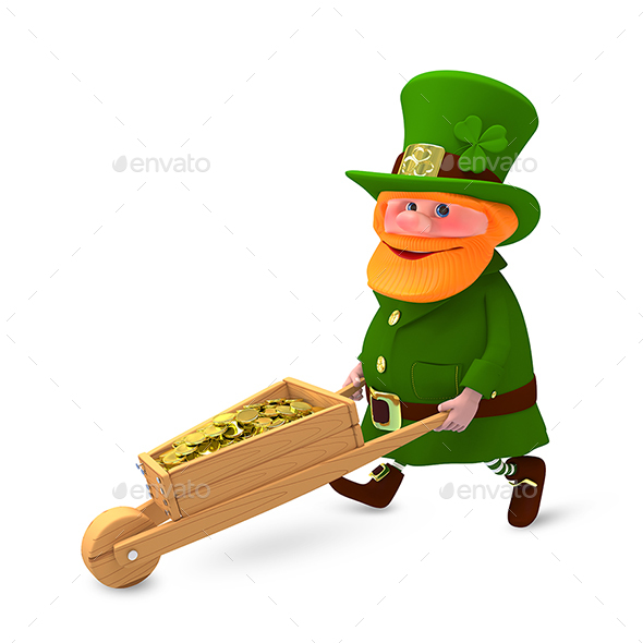 3D Illustration of Saint Patrick with Clover and with Cart - Characters 3D Renders