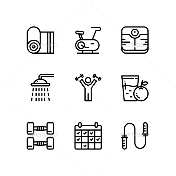 Workout, Fitness, Gym Icons for Web and Mobile Design Pack 3 - Icons