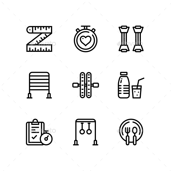 Workout, Fitness, Gym Icons for Web and Mobile Design Pack 5