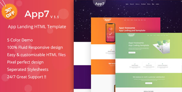 App7 - App Landing HTML Template - Software Technology