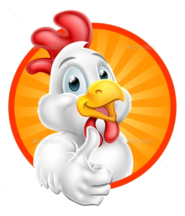 Chicken Cartoon Character Giving Thumbs Up - Animals Characters