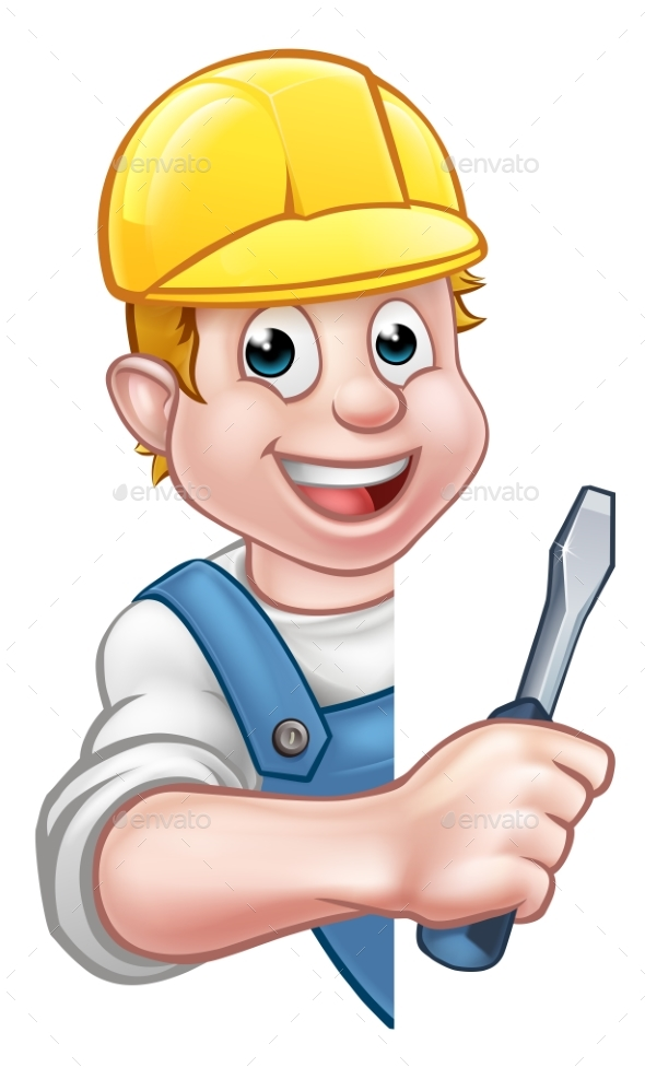 Cartoon Builder Electrician Character - People Characters