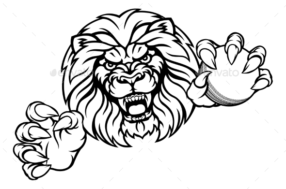 Lion Cricket Ball Sports Mascot - Sports/Activity Conceptual