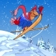 Cartoon Male Skier Flies From a Snowy Mountain