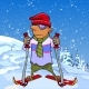 Cartoon Skier Standing on a Snow Mountain