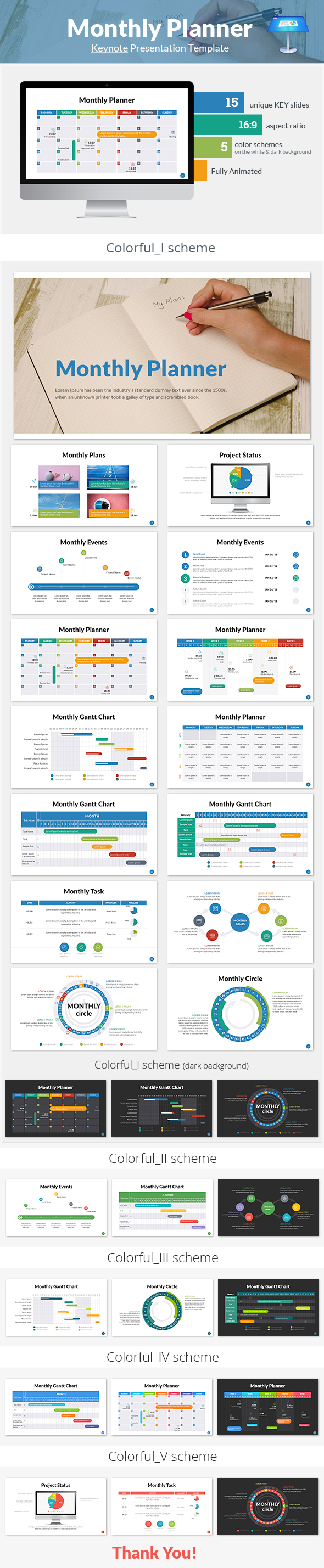 Monthly Planner Keynote Presentation Template - Keynote Templates Presentation Templates