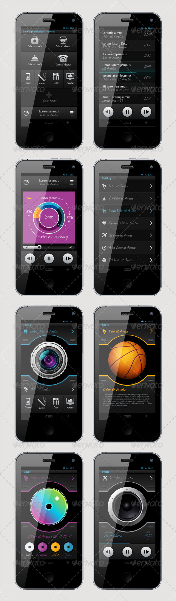 Simple Vector Template Interface for Phone   - Miscellaneous Vectors