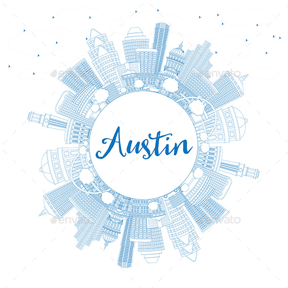 Outline Austin Skyline with Blue Buildings and Copy Space - Buildings Objects