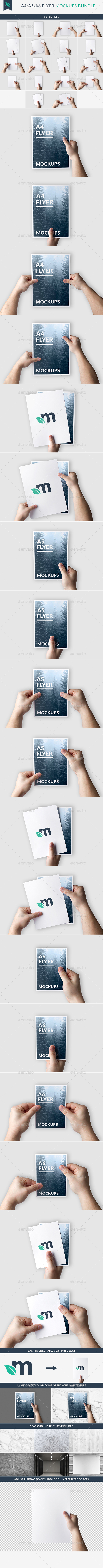 A4/A5/A6 Flyer Mockups Bundle - Flyers Print