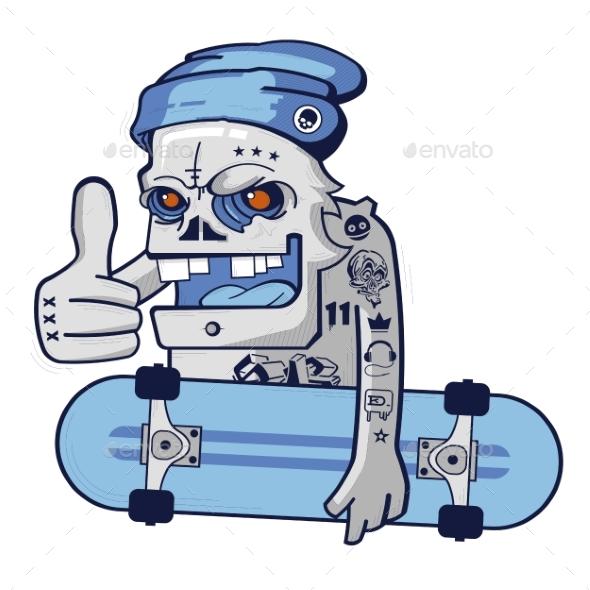 Cartoon Skull Skater Boy - People Characters