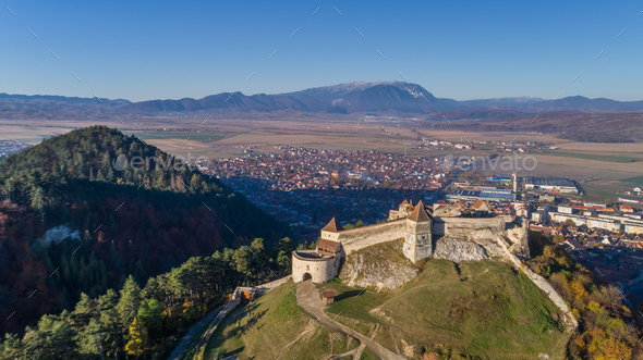 Aerial view of Rasnov Fortress Romania - Stock Photo - Images