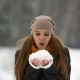 Pretty Girl Blowing on Snow. Lady Throws Snow Up - VideoHive Item for Sale