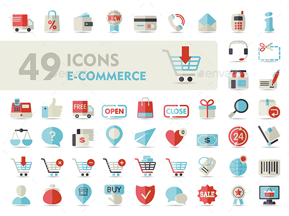 E-commerce set vector icons shopping and online - Web Icons