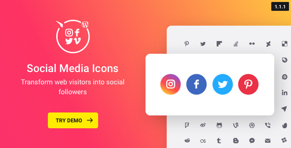WordPress Social Media Icons – Social Icons Plugin - CodeCanyon Item for Sale