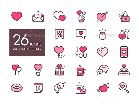 Valentine day and wedding set icons - Web Icons