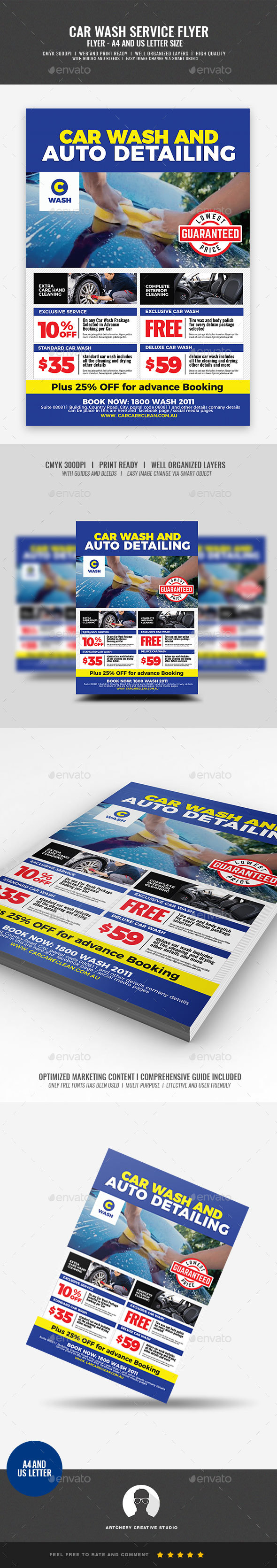 Car Wash And Auto Detailing Flyer By Artchery GraphicRiver Car Wash And Auto Detailing Flyer  21390056. Auto Detailing Flyer Template  Auto Detailing Flyer Template