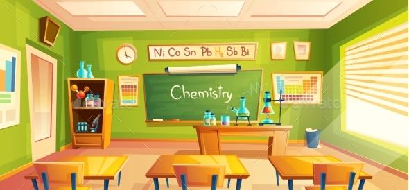 Vector School Laboratory Classroom Interior - Miscellaneous Vectors