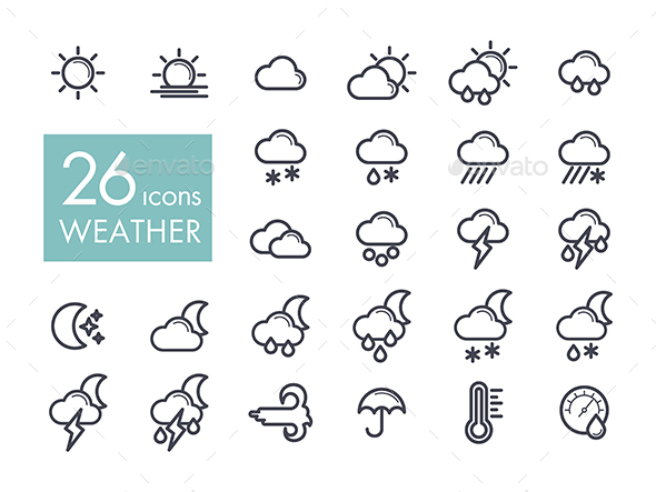 Meteorology Weather flat icons set - Food Objects