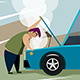 Driver Looks at Broken Car - GraphicRiver Item for Sale