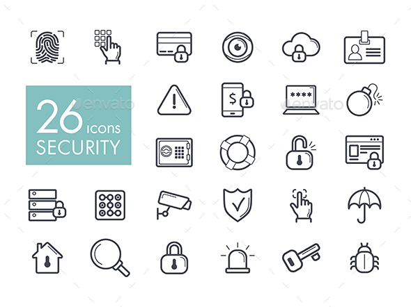 Security outline web icon set - Food Objects