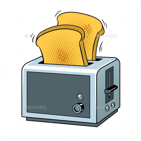 Toaster with Toast Pop Art Vector Illustration - Food Objects