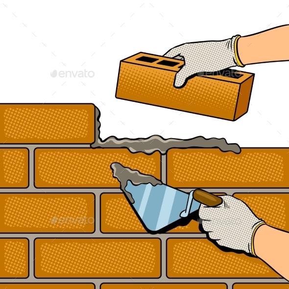 Wall Building Process Pop Art Vector - Miscellaneous Vectors